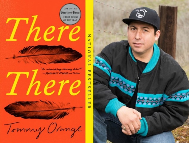Tommy Orange portrait and book cover of national bestseller THERE THERE