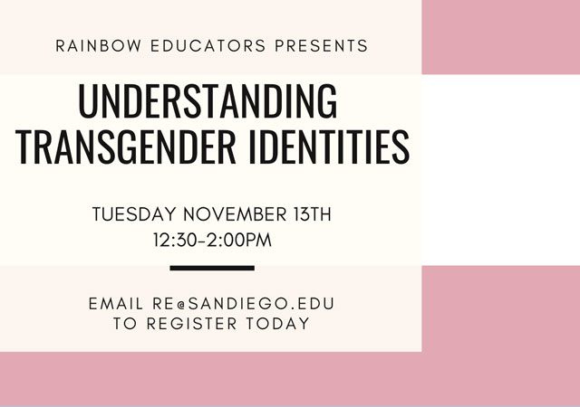Flyer promoting the date (11/13) and time (12:30-2:00pm) of the event with a transgender flag in the background