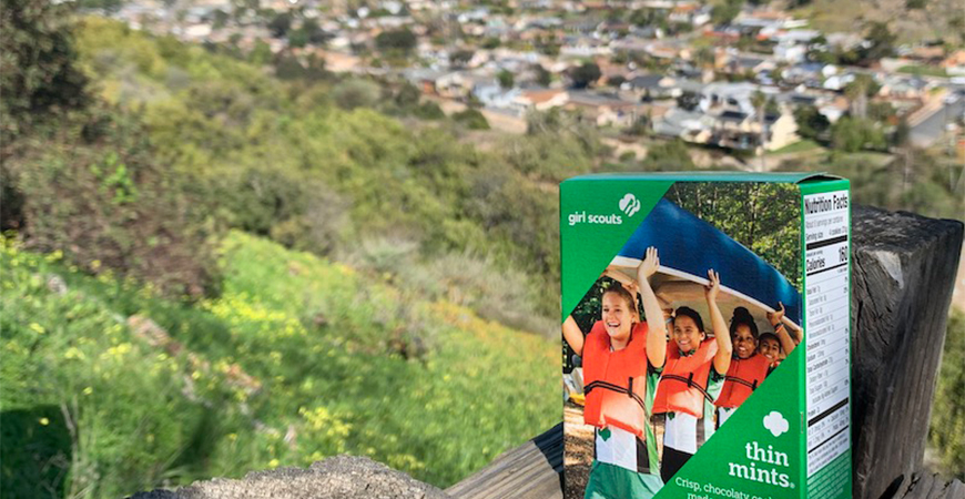 Girl Scout cookies box next to Tecolote Canyon