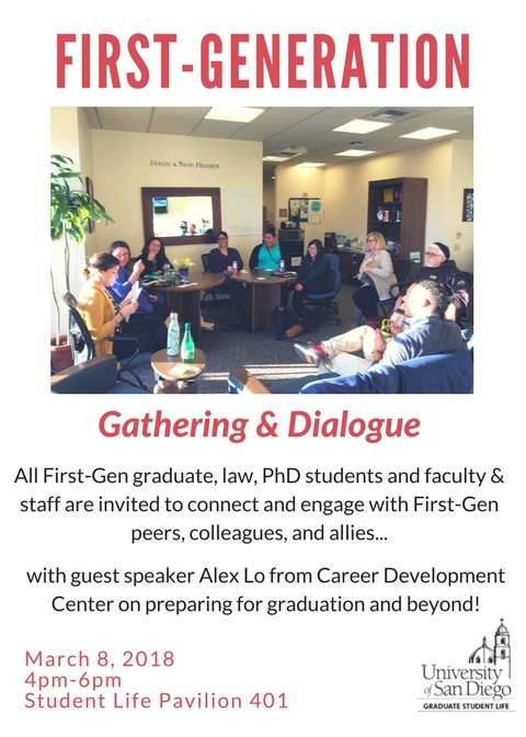 Flyer for First-Gen Gathering and Dialogue