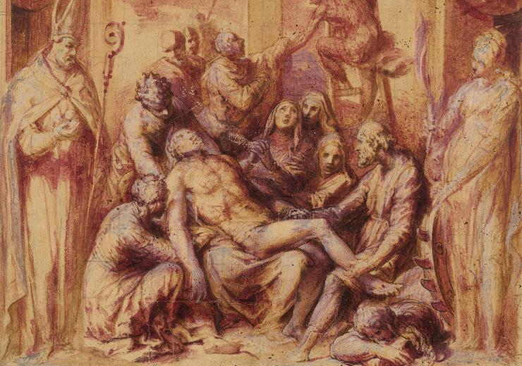 Giovanni de' Vecchi, The Lamentation with Saints Nicholas and Catherine of Alexandria, 1550–1600, Brush drawing in brown and mauve wash. ©The Trustees of the British Museum.