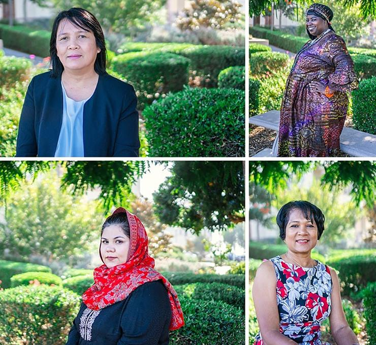 Women PeaceMakers, clockwise, from top left: Rochelle Mordeno (Philippines), Yamoundow Jagne Joof (Gambia), Sabrina Mowlah-Baksh (Trinidad & Tobago), Wazhma Frogh (Afghanistan).