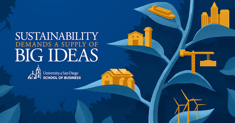 Graphic stating sustainability demands a supply of big ideas.