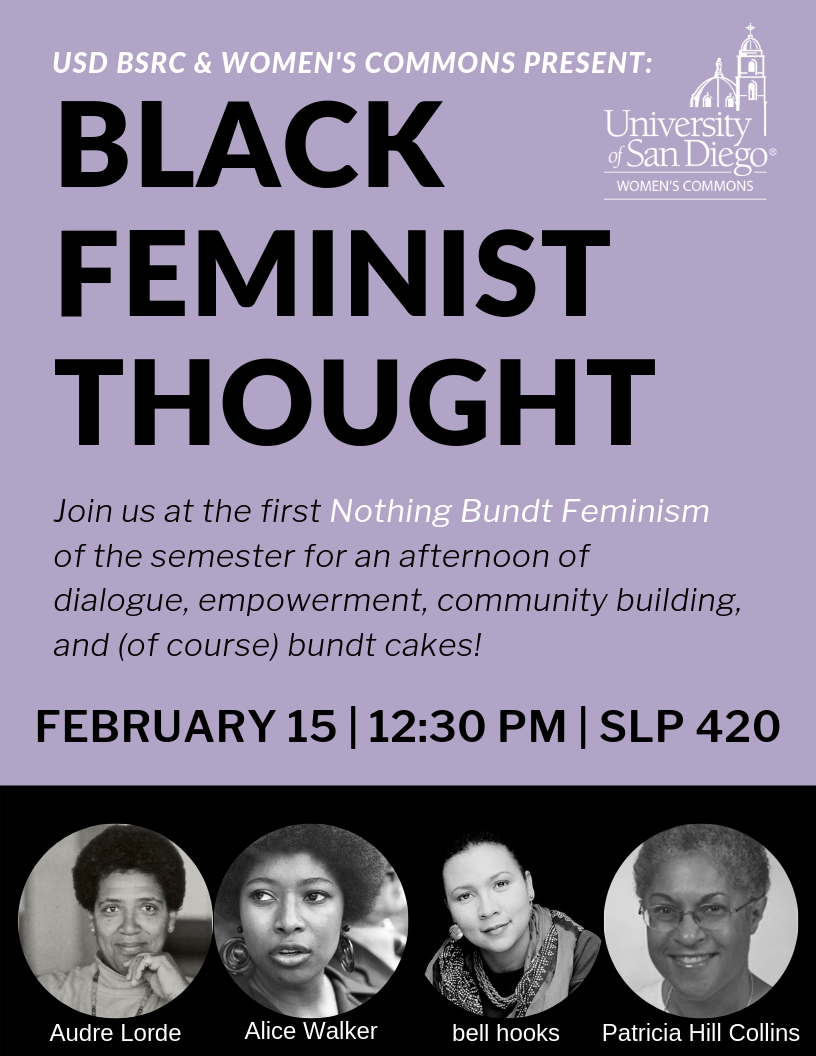 Black Feminist Thought: Join us at the first Nothing Bundt Feminism for an afternoon of dialogue and bundt cakes! Images of Audre Lorde, Alice Walker, bell hooks, Patricia Hill Collins