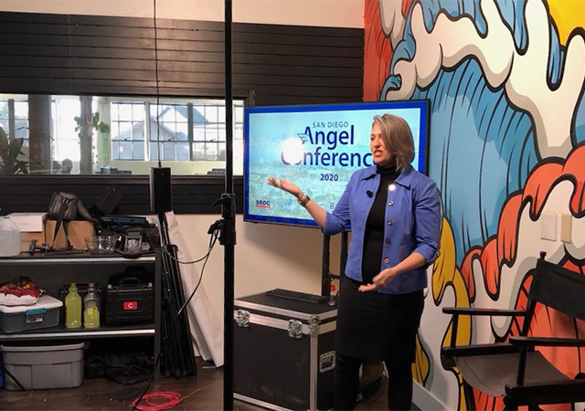 Mysty Rusk, director of The Brink SDBC at USD, speaks during the virtual event, the second annual San Diego Angel Conference on March 28.