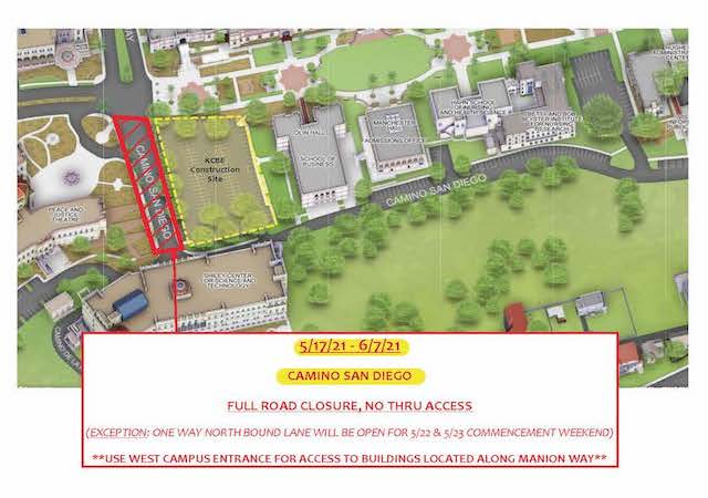 Campus map illustration with area of construction noted