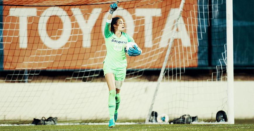 Amber Michel, senior goalkeeper for USD women's soccer won the WCC Female Sportsmanship Award