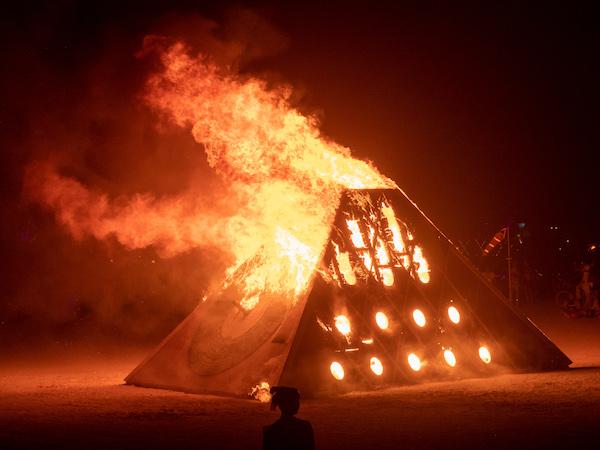 burning man installation fire