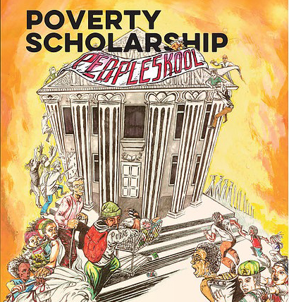 "cartoon of White House with sign ""Peopleskool"" on it and caption ""Poverty Scholarship"" above it"