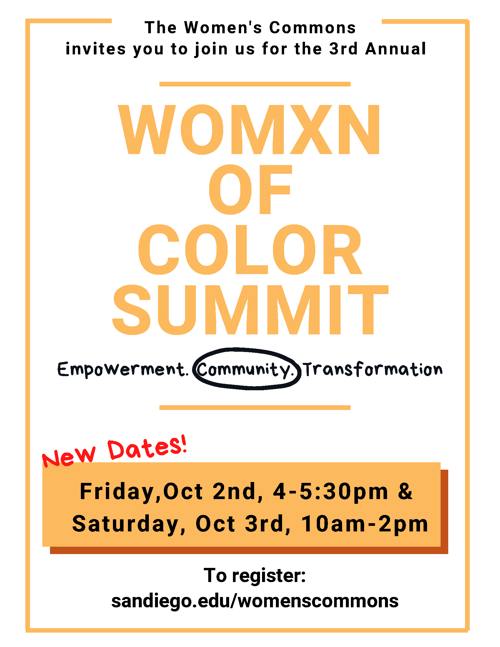 The Women's Commons invites you to join us for the 3rd annual Womxn of Color Summit: empowerment. community. transformation. Fri 9.18 and Sat 9.19