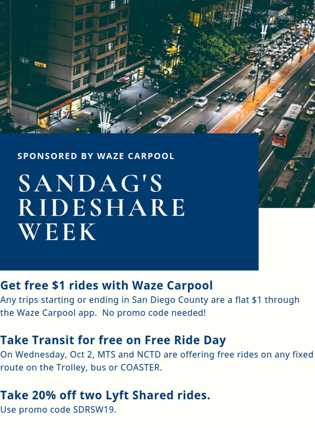 Info on SANDAG's Rideshare week