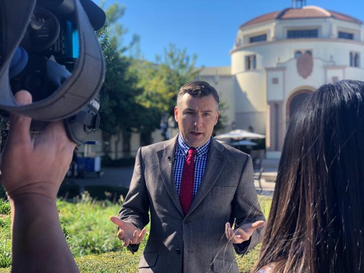 Professor Ev Meade interviewed in front of the Kroc School