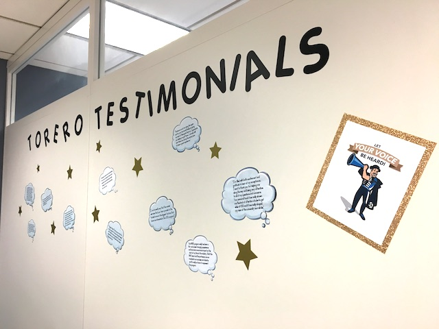 Toreros Testimonial Wall at the Burnham-Moores Center for Real Estate Which has accolades from students, parents and industry professionals.