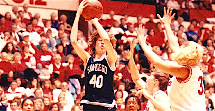 University of San Diego women's basketball standout Christine Enger, left, will enter the West Coast Conference Hall of Honor on March 3 in Las Vegas.