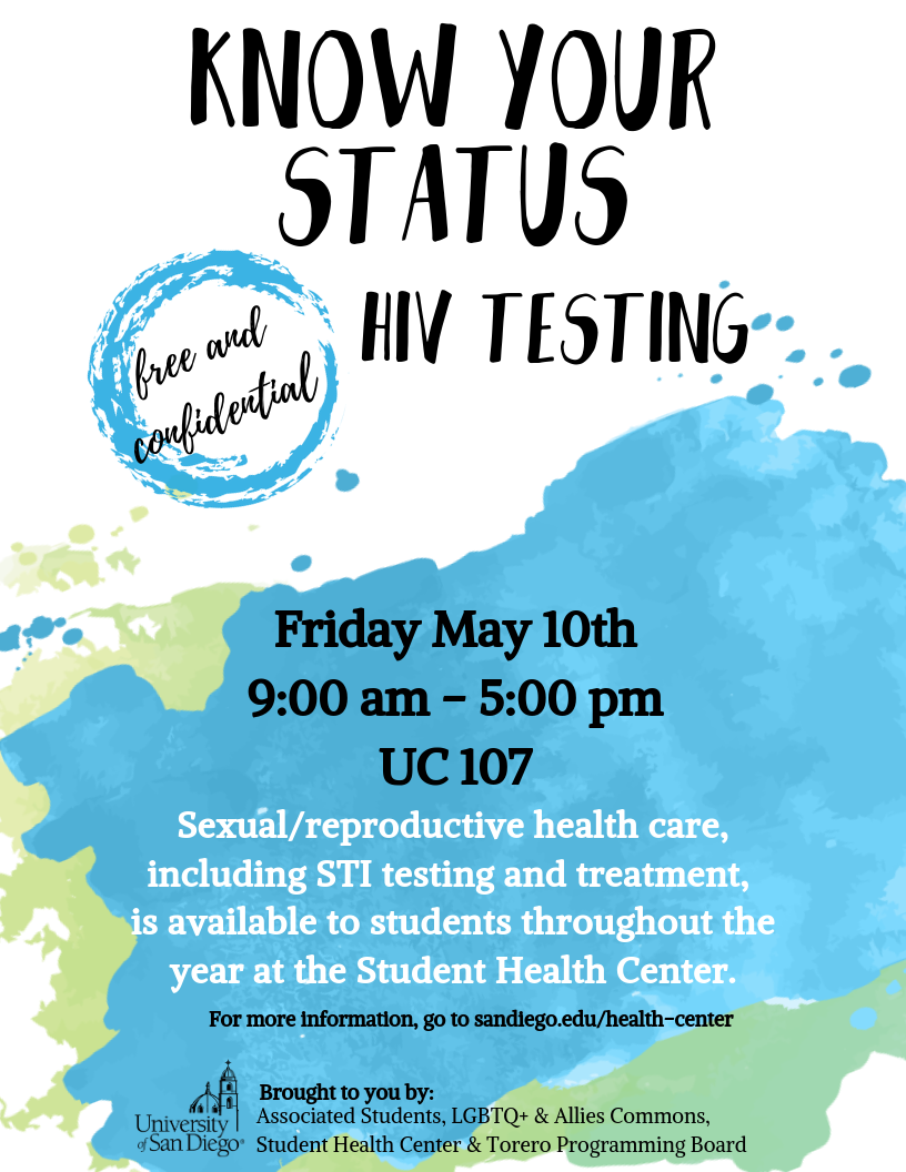 Come to UC 107 Friday, May 10th between 9:00 am - 5:00 pm for free and confidential HIV testing. Testing is through walk-in appointments only on a first come, first serve basis. Comprehensive STI/STD