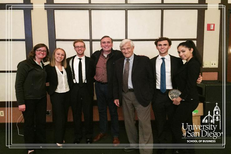 From left to right: Meghann Sweeney, Executive Director of INADR, Callie Sharp (student), Austin April (student team leader), Rick Custin (coach), Richard M. Calkins, founder and former President of I