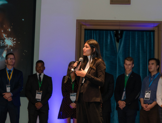 Student pitches at the Fowler Business Concept Challenge