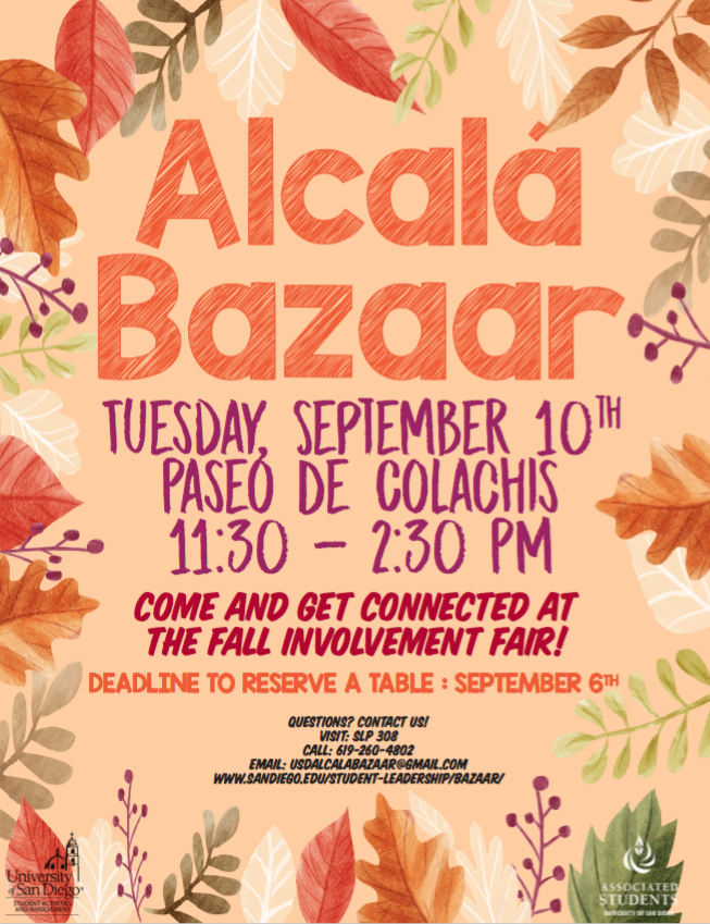 Fall Alcalá Bazaar Tuesday, September 10th at 11:00am- 2:30pm.