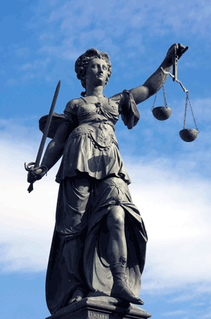 Statue of Lady Justice in Frankfurt, Germany.