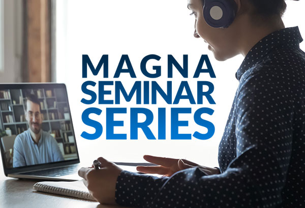 """an image of a woman typing on a computer with the words """"magna seminar series"""""""