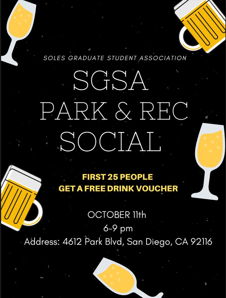 The SOLES Graduate Student Association (SGSA) is holding their first Fall social on Friday, October 11th, 2019 at Park & Rec in North Park!