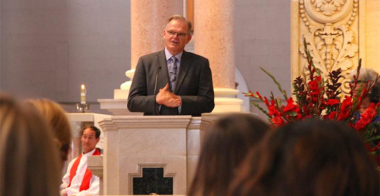 USD President James T. Harris speaks prior to leading the audience in the Prayer to the Holy Spirit during Thursday's annual USD Mass of the Holy Spirit.