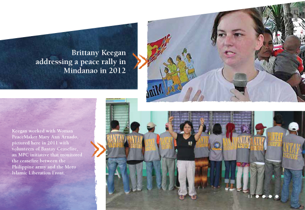 Brittany Keegan addressing a peace rally in Mindanao in 2012