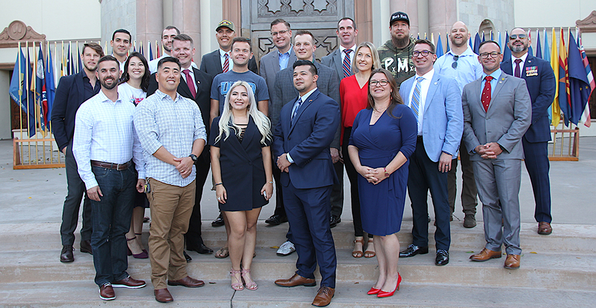 Members of USD's Miltary-connected student population and alumni gathered on campus in November 2019. The 2020 Veterans Day celebration involves a week of virtual events.