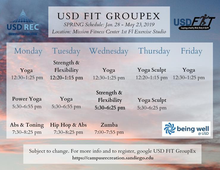 Spring 2019 GroupEx Schedule