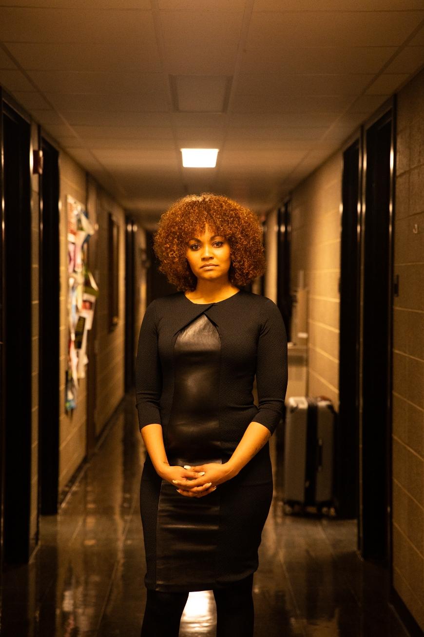 Charisse Burden in hallway