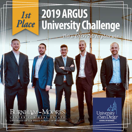 USD School of Business team takes first place in 2019 ARGUS Competition. Photo of the five-member team.