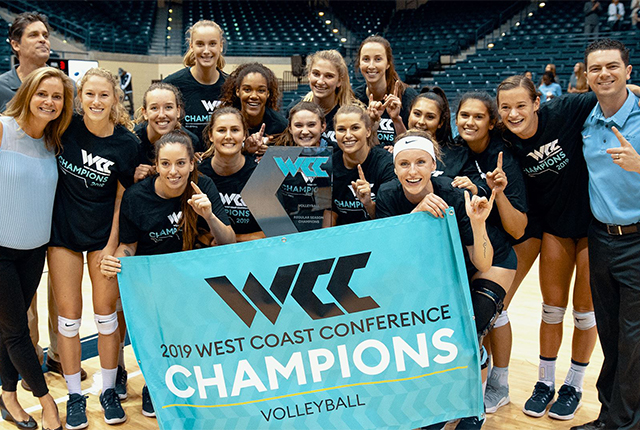 The women's volleyball team won the WCC title and the conference feted several players and the head coach in recognition of their 2019 success, too.