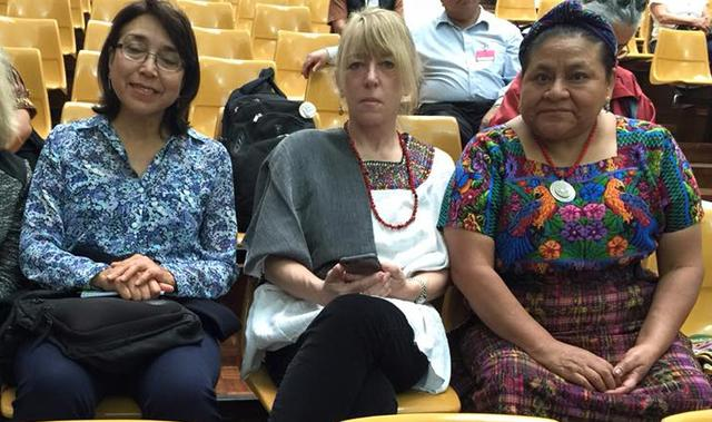 Mendez at Sepur Zarco trial with Nobel Peace Laureates