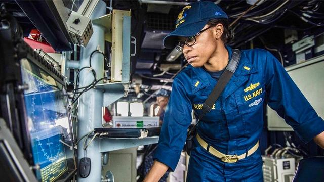 USD MBA student, Chelsey Olshenke, works onboard a naval ship