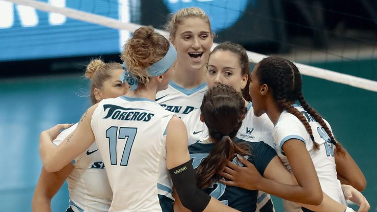 The USD women's volleyball team celebrates a point during its NCAA Tournament victory over Washington State on Dec. 6 in Honolulu, Hawaii.