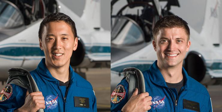 USD alumni Jonathan Kim, left, and Matthew Dominick, right, were among 12 new astronaut candidates honored at a welcoming ceremony today at the Johnson Space Center.