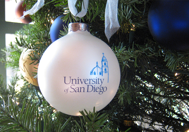 USD Ornament on a Christmas tree on campus. Merry Christmas to all from the University of San Diego!