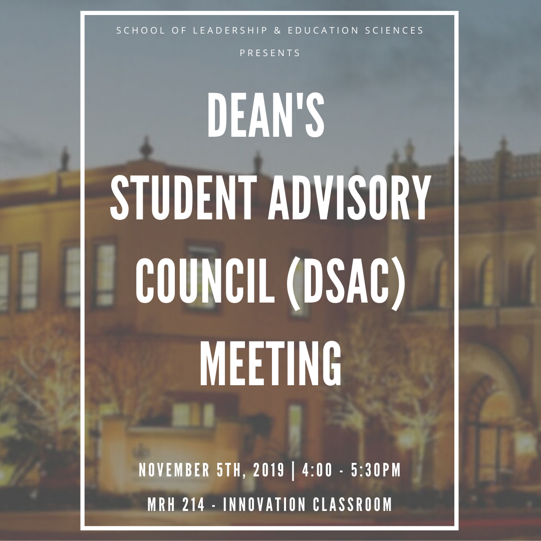 The SOLES Dean's Student Advisory Council meeting will take place on November 6th at 4pm in MRH 114