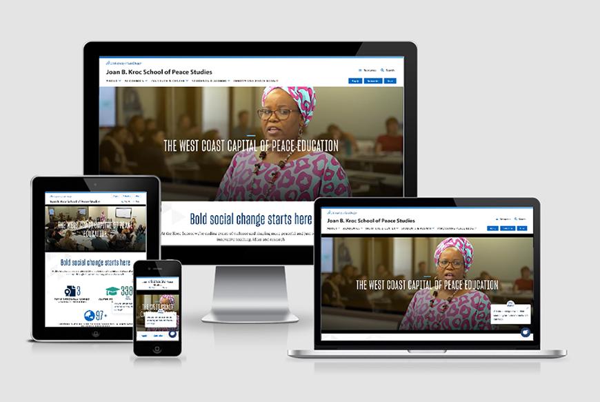 The Kroc School website viewports.