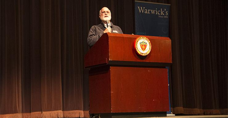 Father Greg Boyle, a Jesuit priest, founder of Homeboy Industries and a best-selling author, spoke at USD about the power of radical kinship, a theme in his newest book.