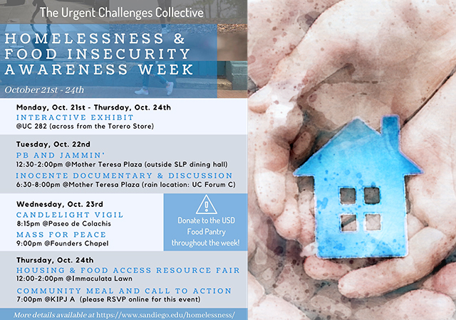 Homelessness & Food Insecurity Week flyer with event dates and locations