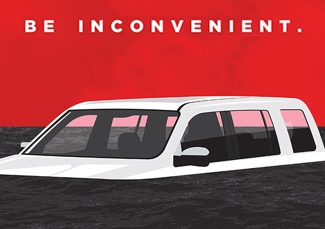 Be Inconvenient stylized poster showing a van submerged