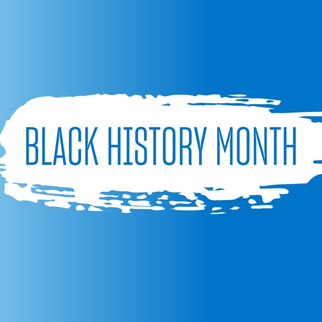 Black History Month text on blue background