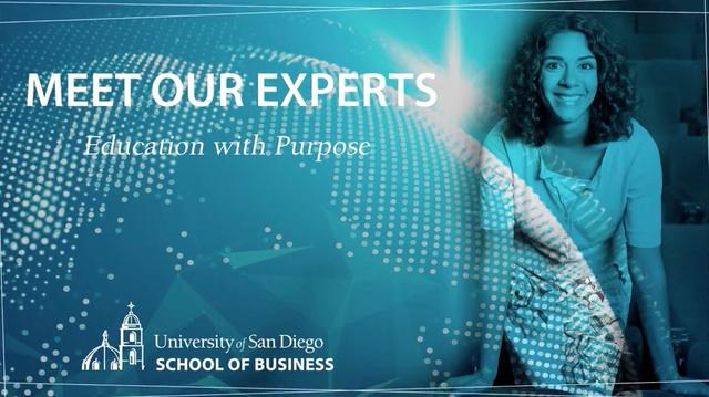 Stillshot of the USD School of Business' Meet the Experts video series with Professor Aarti Ivanic