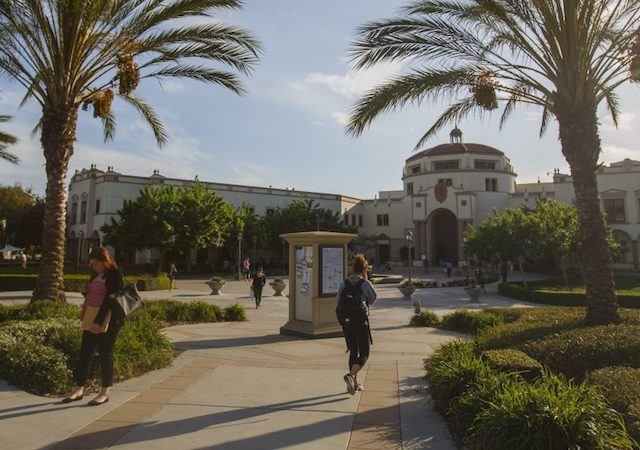 Students walking on the west end of campus