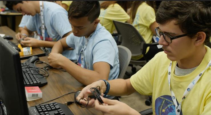 High School students participate in the GenCyber Academy of Excellence summer camp at USD.  The camp gives students insight into the cyber security field.