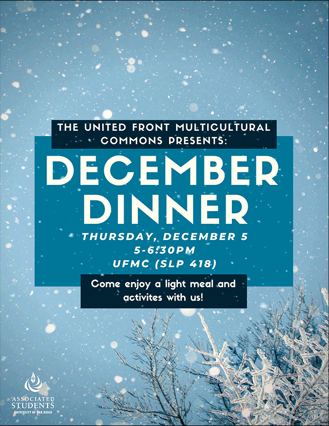 Flyer for event. Image of snow on trees.