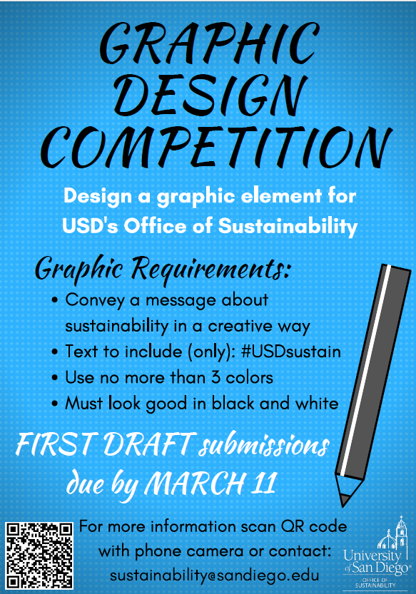 Graphic Design Competition for Office of Sustainability graphic. First draft due March 11.
