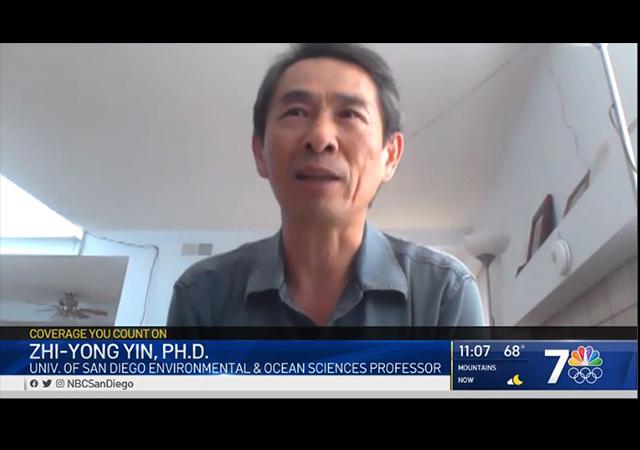 A screenshot of Dr. Yin talking to NBC San Diego.