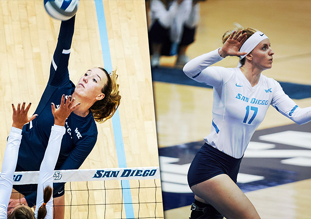 Photo of Roxie Wiblin and Thana Fayad who earned AVCA Pacific South All-Region honors